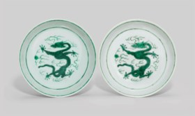 A PAIR OF GREEN-ENAMELLED 'DRAGON' DISHES