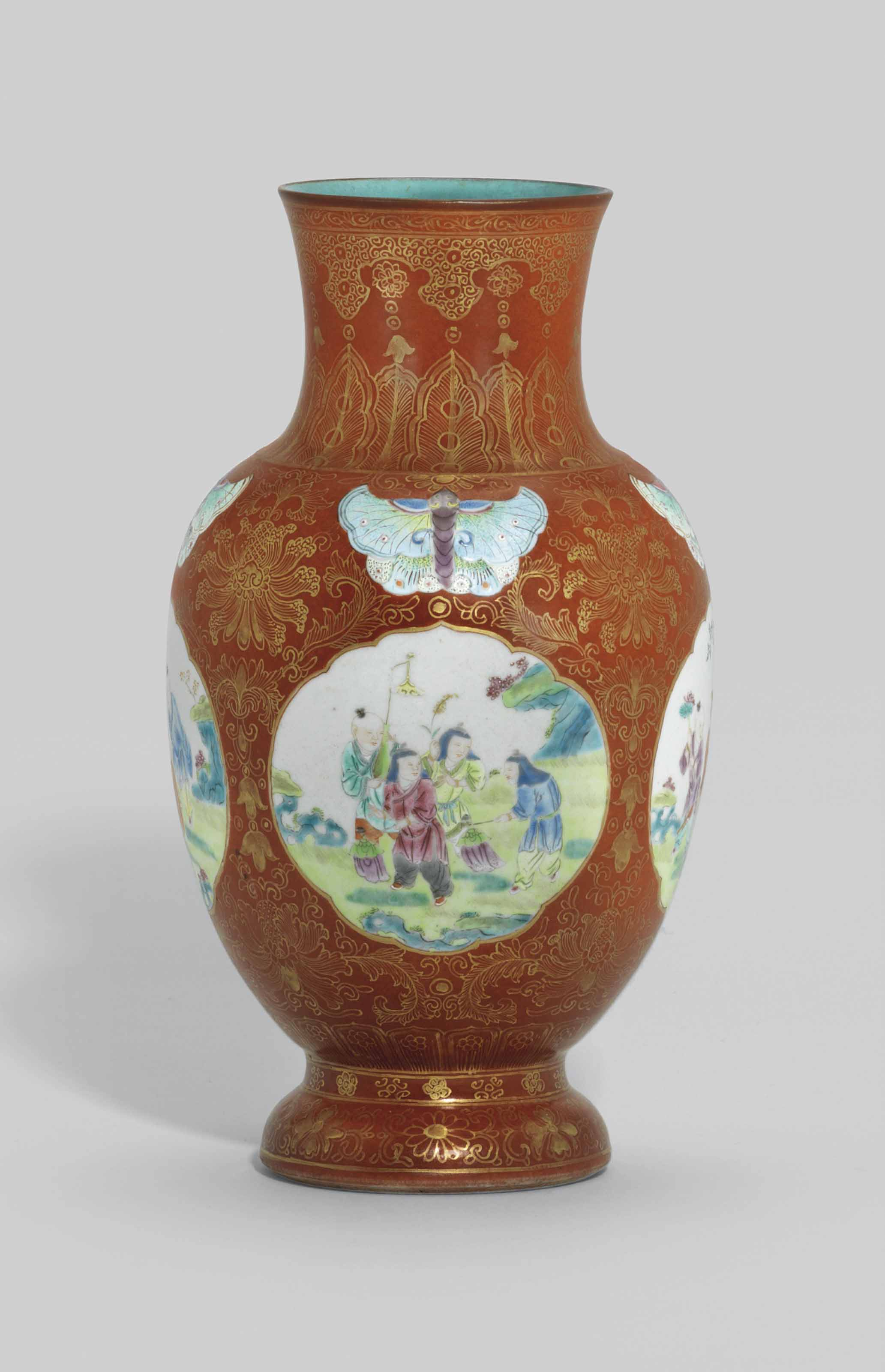 A Coral Ground Famille Rose Boys Vase Qianlong Period 1736 1795 Christie S