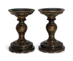 A PAIR OF GILT-LACQUERED 'LOTUS' TAZZAS