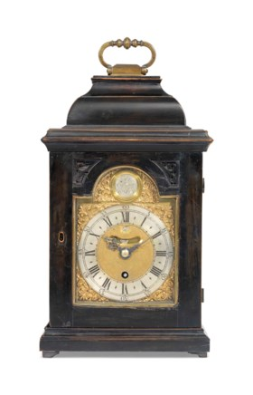A GEORGE III EBONISED TIMEPIECE TABLE CLOCK OF SMALL SIZE WI