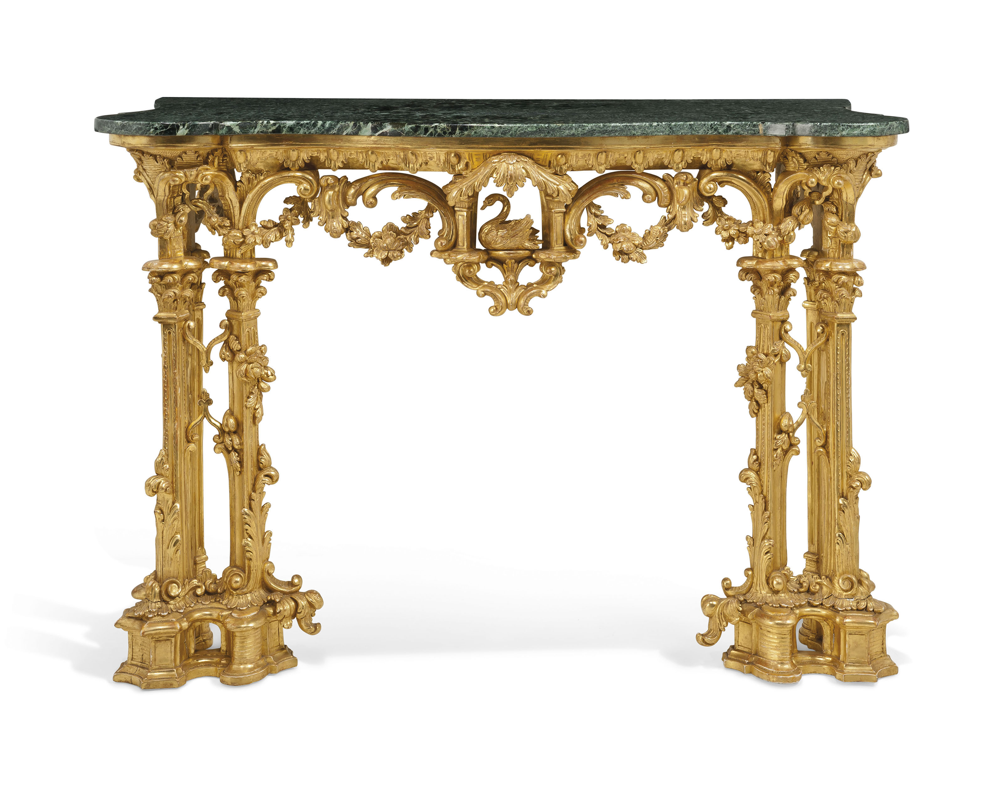 A GEORGE III GILTWOOD CONSOLE TABLE