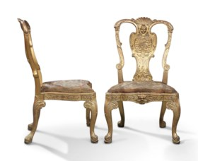 A PAIR OF GILT-GESSO SIDE CHAIRS