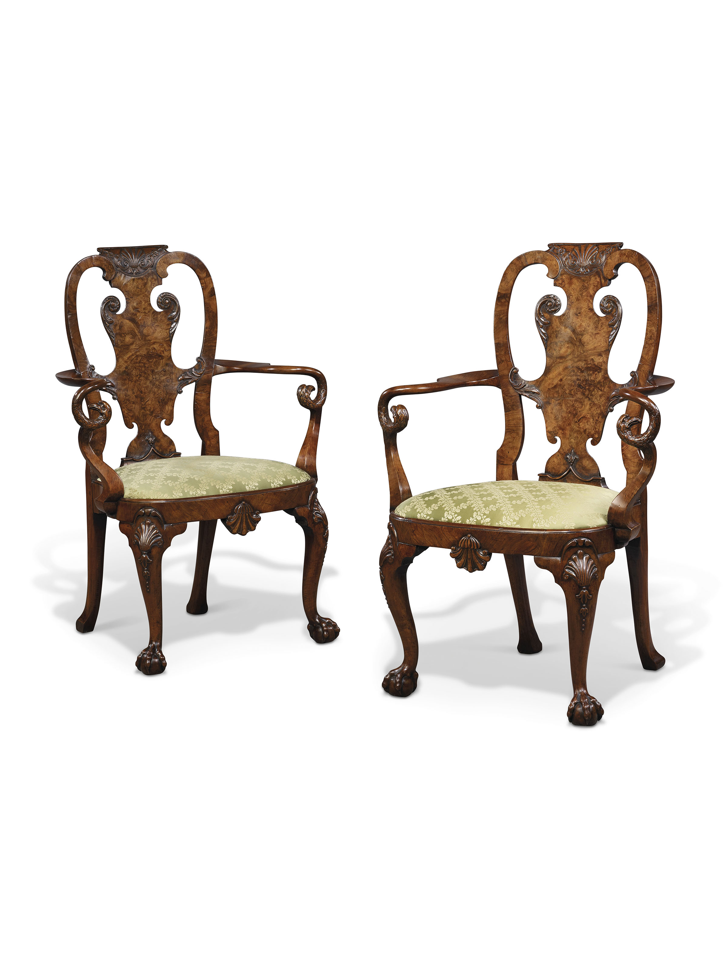 A PAIR OF GEORGE II WALNUT ARMCHAIRS  ATTRIBUTED TO GILES GRENDEY