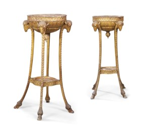 A PAIR OF 'ADAM' GILTWOOD BOWL STANDS OR JARDINIERES