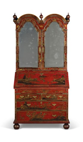 A GEORGE II RED, SILVER AND GILT-JAPANNED BUREAU-CABINET