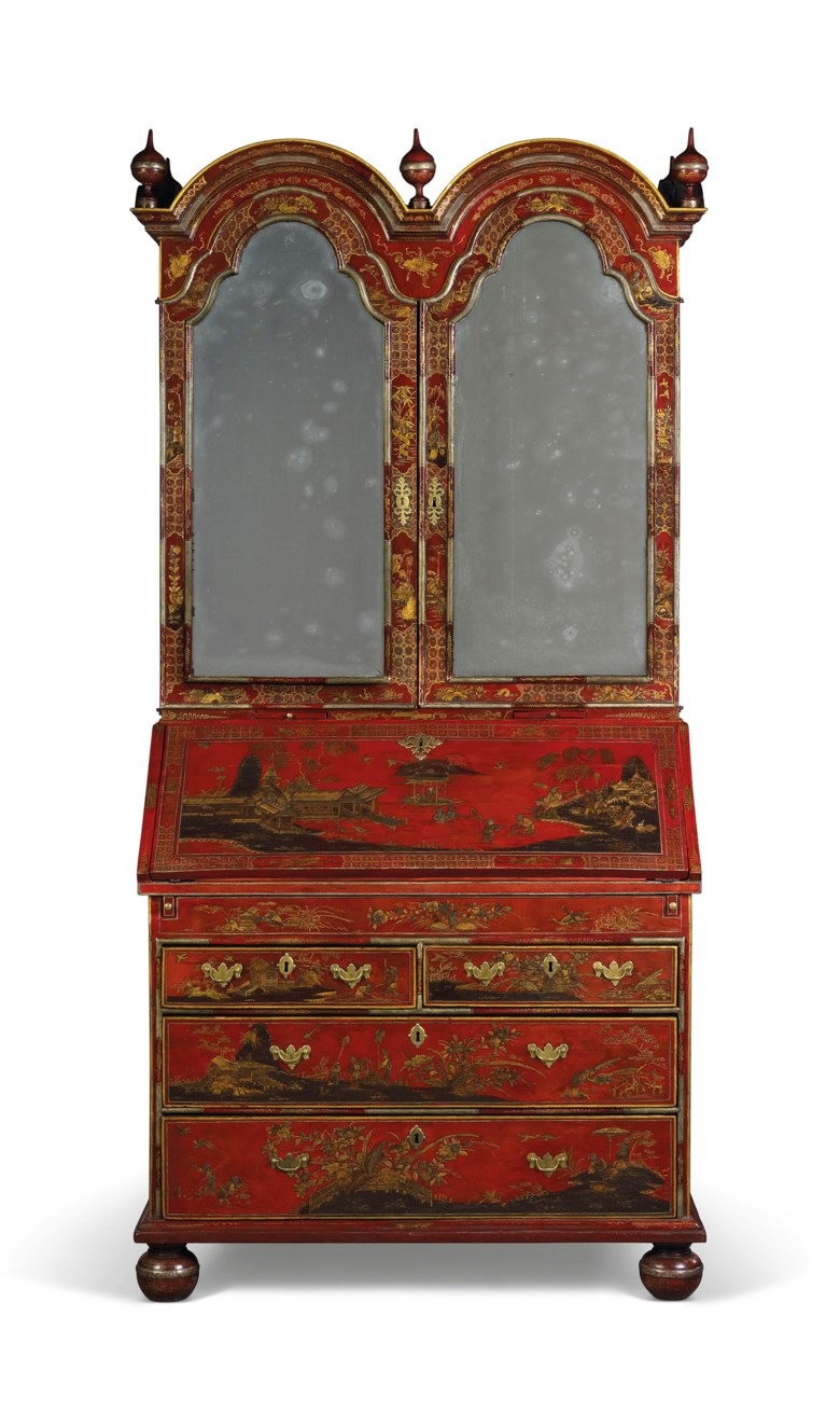 A george ii red, silver and gilt-japanned bureau-cabinet, CIRCA 1730. 86½  in (219  cm) high; 43½  in (110  cm) wide; 23  in (59  cm) deep. Estimate £80,000-120,000. This lot is offered in The Collector English Furniture, Clocks & Works of Art  on 13 November 2018 at Christie's in London