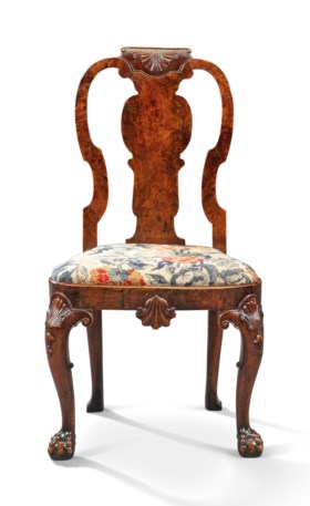 A GEORGE II WALNUT SIDE CHAIR, ATTRIBUTED TO GILES GRENDEY