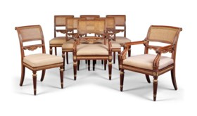 A SET OF EIGHT GEORGE IV BRASS-MOUNTED BRAZILIAN ROSEWOOD AN