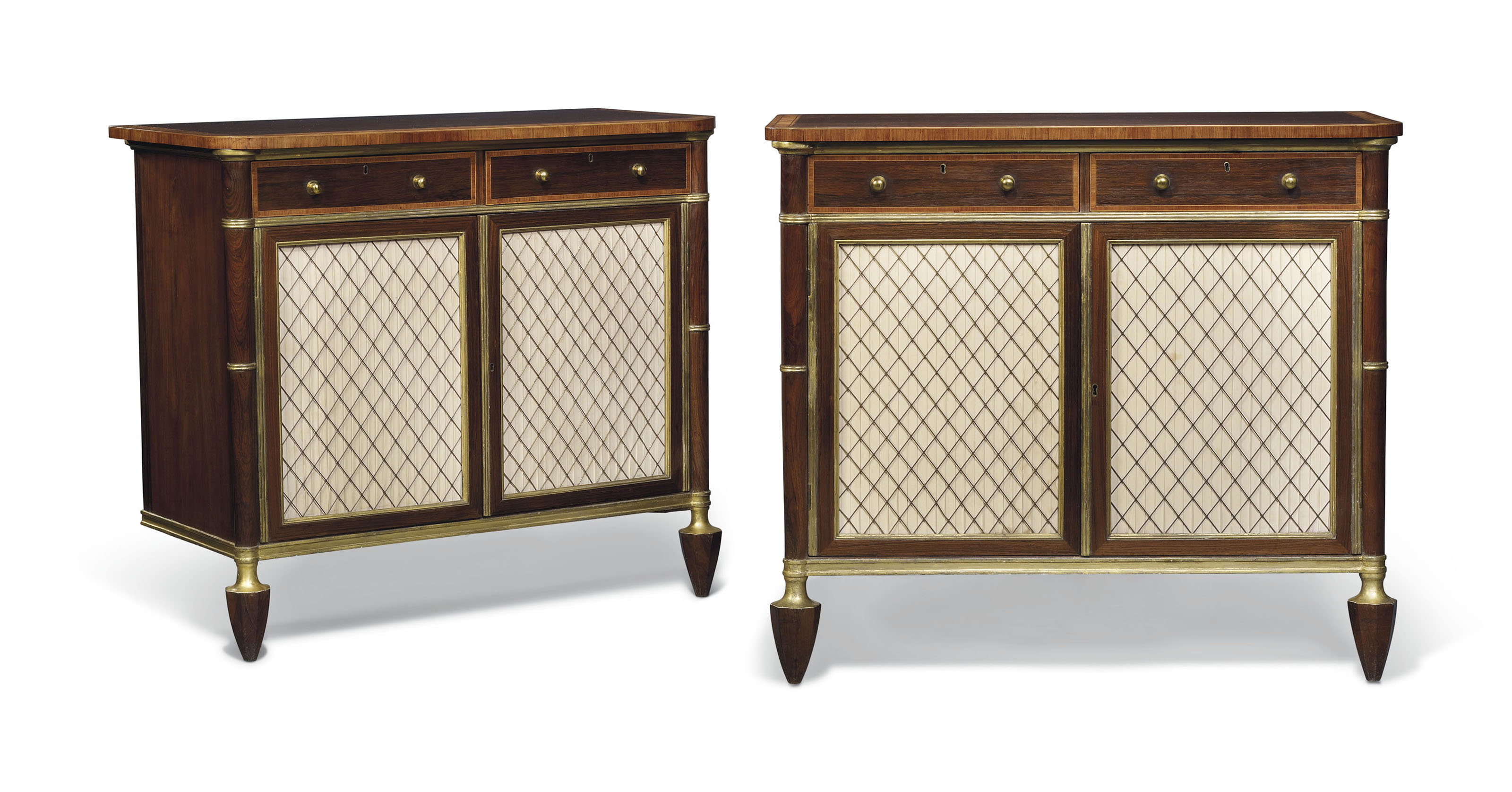 A PAIR OF REGENCY INDIAN ROSEWOOD, SATINWOOD AND TULIPWOOD-CROSSBANDED AND PARCEL-GILT SIDE CABINETS