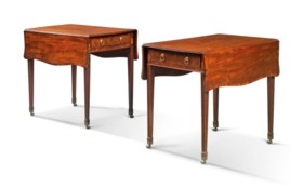 A PAIR OF GEORGE III MAHOGANY AND CROSSBANDED PEMBROKE TABLE