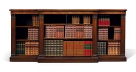 A GEORGE IV BRAZILIAN ROSEWOOD BREAKFRONT OPEN BOOKCASE