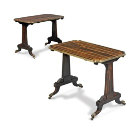 A PAIR OF REGENCY SATINWOOD-CROSSBANDED AND BRASS-MOUNTED CA