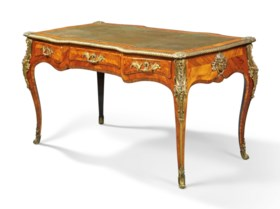A GEORGE IV LACQUERED-BRASS-MOUNTED KINGWOOD AND TULIPWOOD-B