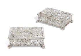 A PAIR OF CHARLES II SILVER CASKETS