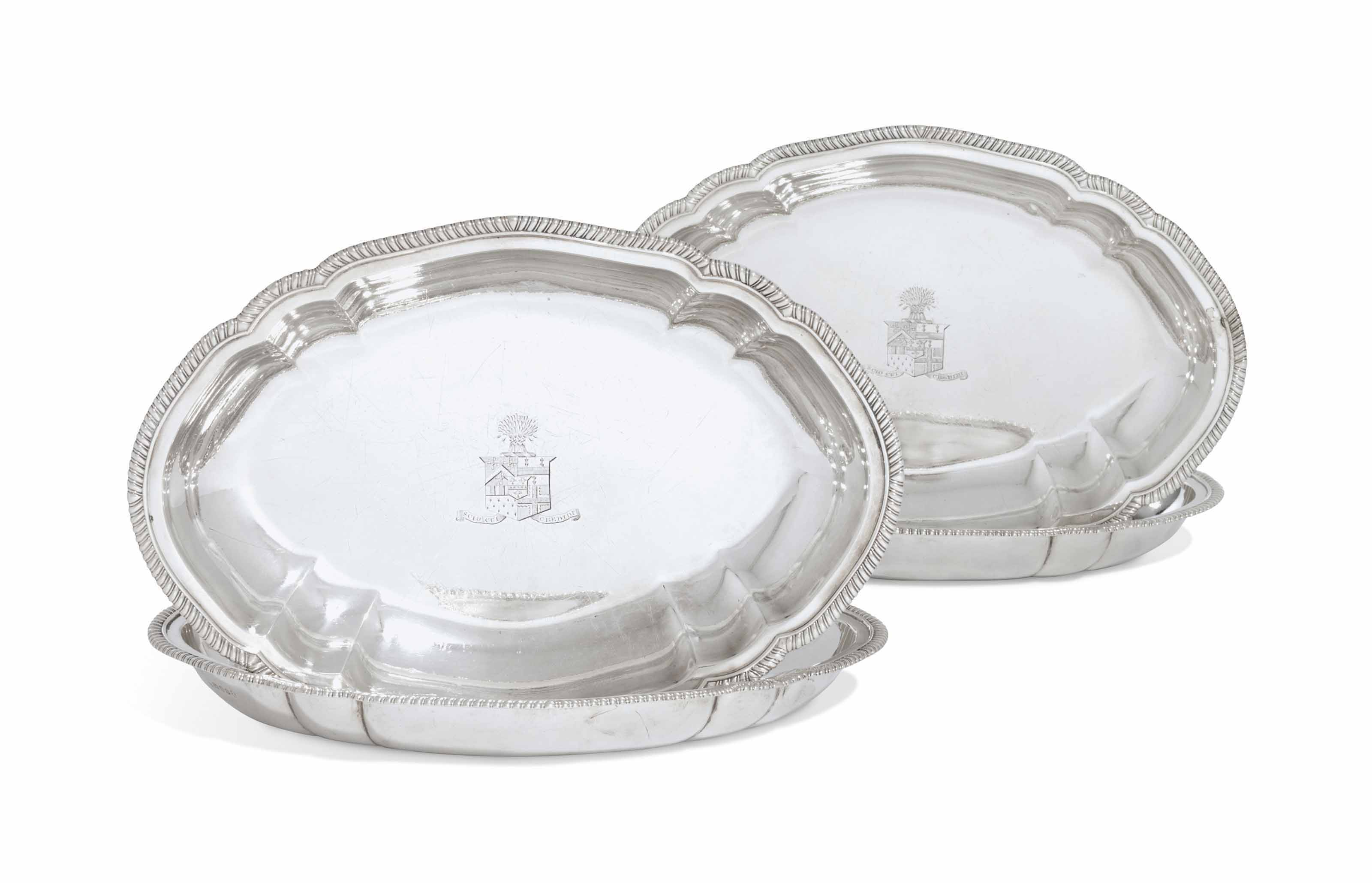 A SET OF FOUR GEORGE III SILVER ENTREE-DISHES