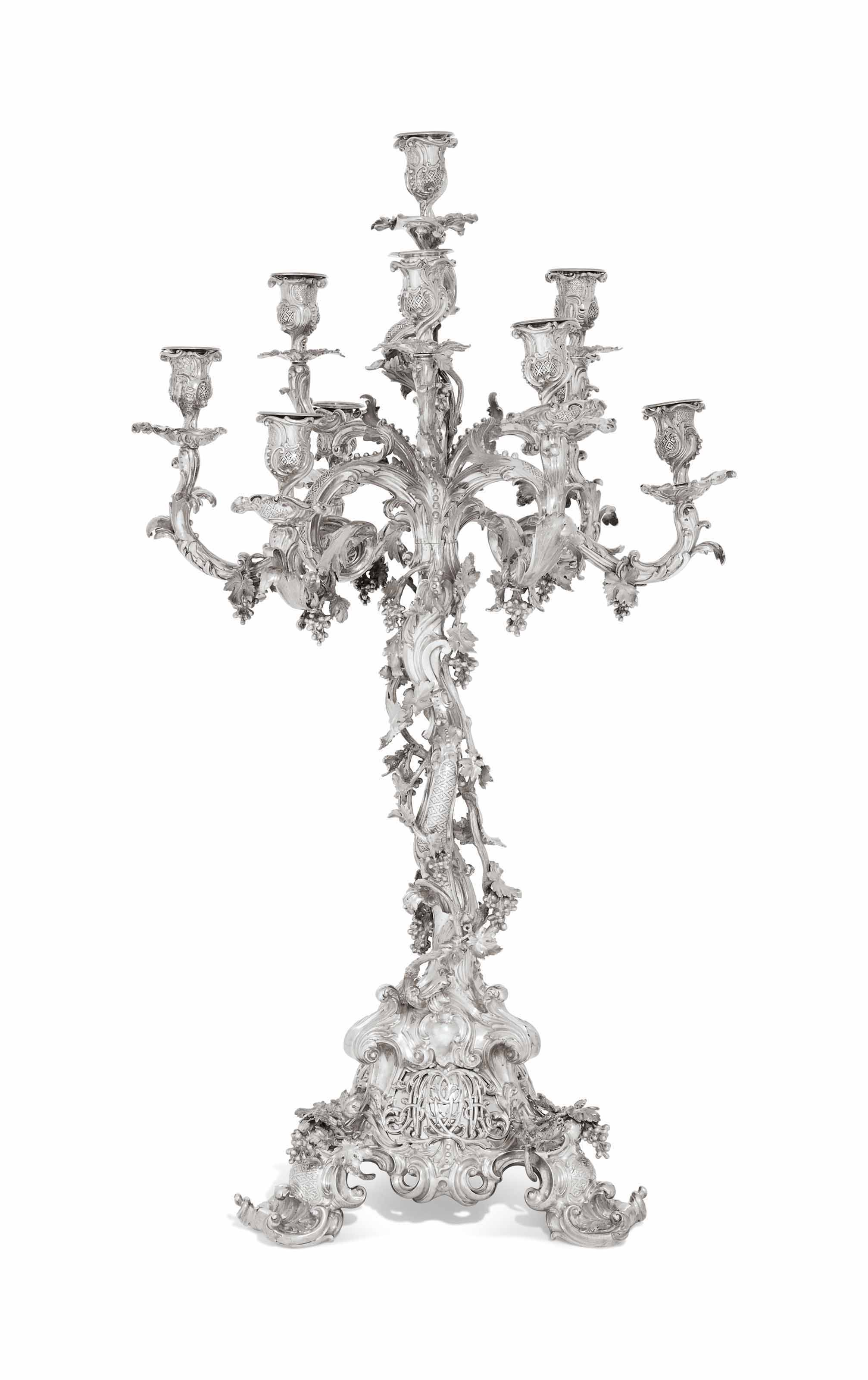 A VICTORIAN SILVER TEN-LIGHT CANDELABRUM