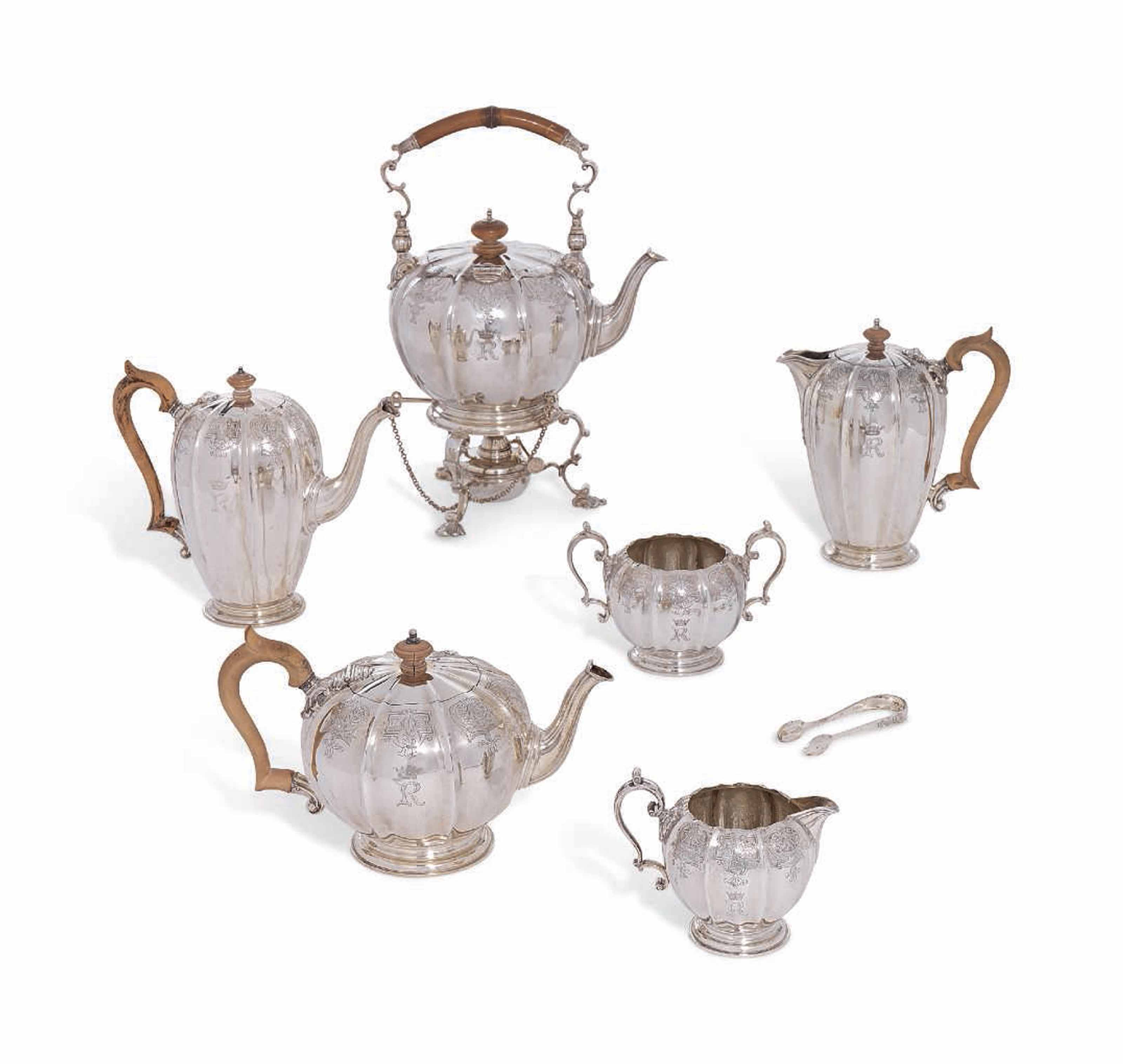 A ROYAL GEORGE V AND GEORGE VI SILVER TEA AND COFFEE-SERVICE
