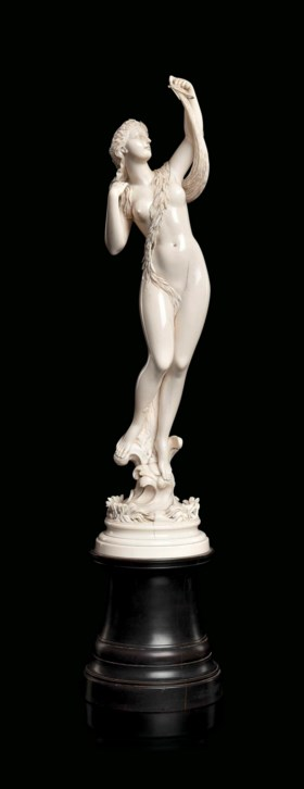 A FRENCH CARVED IVORY FIGURE OF A SEA NYMPH