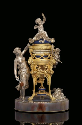 A FRENCH GILT AND SILVERED-BRONZE, JASPER, AND LAPIS LAZULI