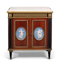 A FRENCH ORMOLU AND WEDGWOOD-MOUNTED MAHOGANY AND EBONY SIDE CABINET