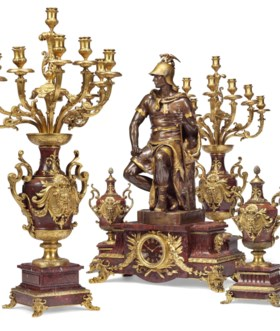 A LARGE FRENCH ORMOLU-MOUNTED ROUGE GRIOTTE FIVE-PIECE STRIK