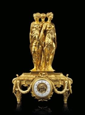A NAPOLEON III ORMOLU STRIKING MANTEL CLOCK