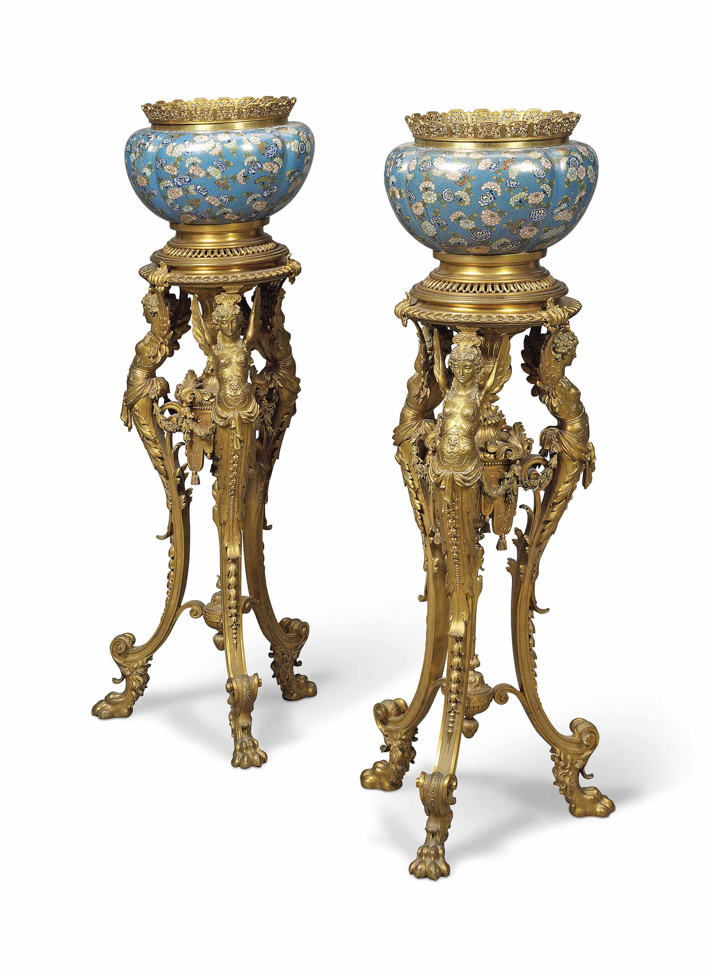 A PAIR OF FRENCH ORMOLU AND CLOISONNE ENAMEL LOBED JARDINIERES-ON-STANDS
