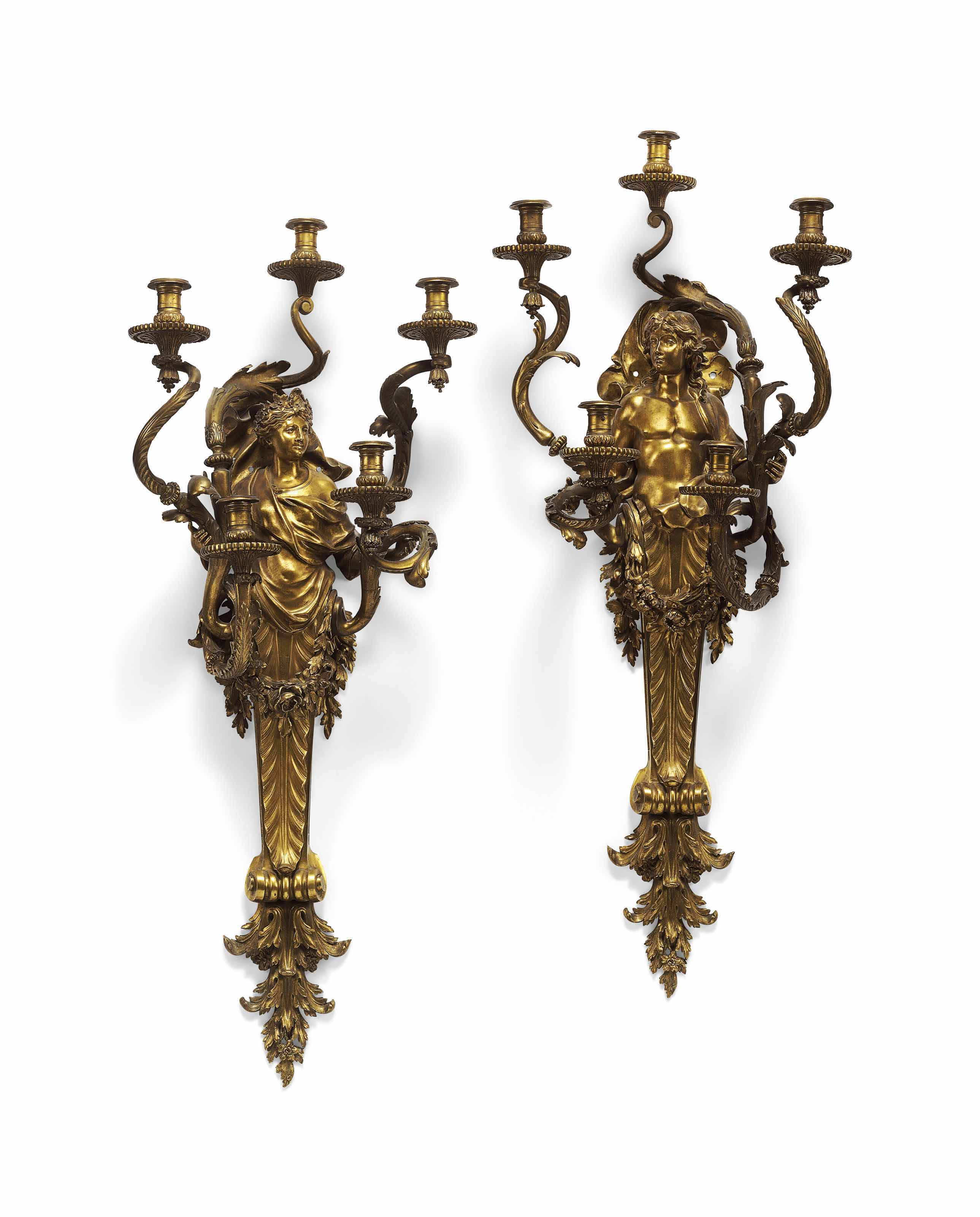 A PAIR OF FRENCH ORMOLU FIVE-LIGHT WALL APPLIQUES