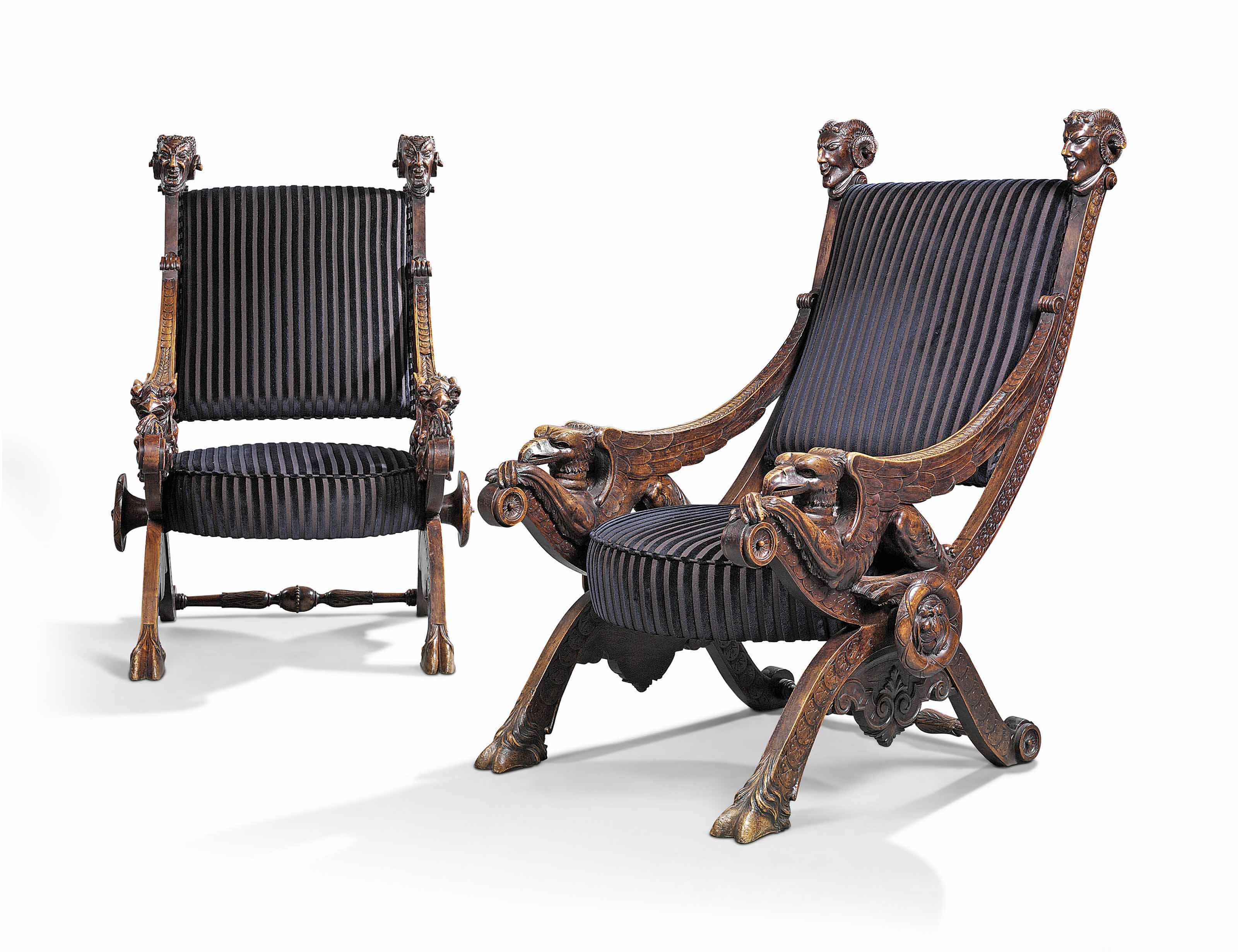 A PAIR OF ITALIAN WALNUT LARGE 'CURULE' THRONE CHAIRS