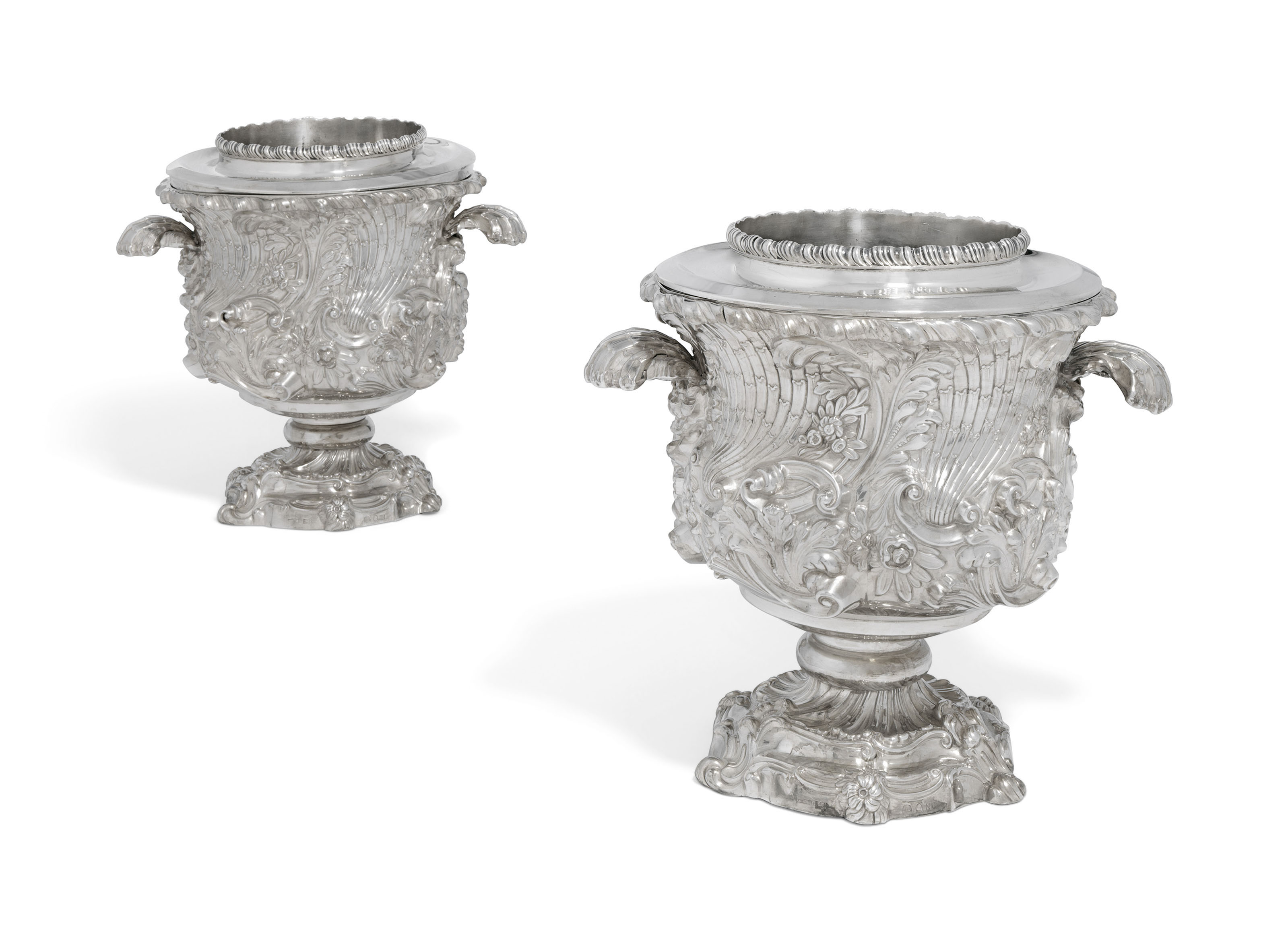 A PAIR OF GEORGE III SILVER WINE-COOLERS, COLLARS AND LINERS