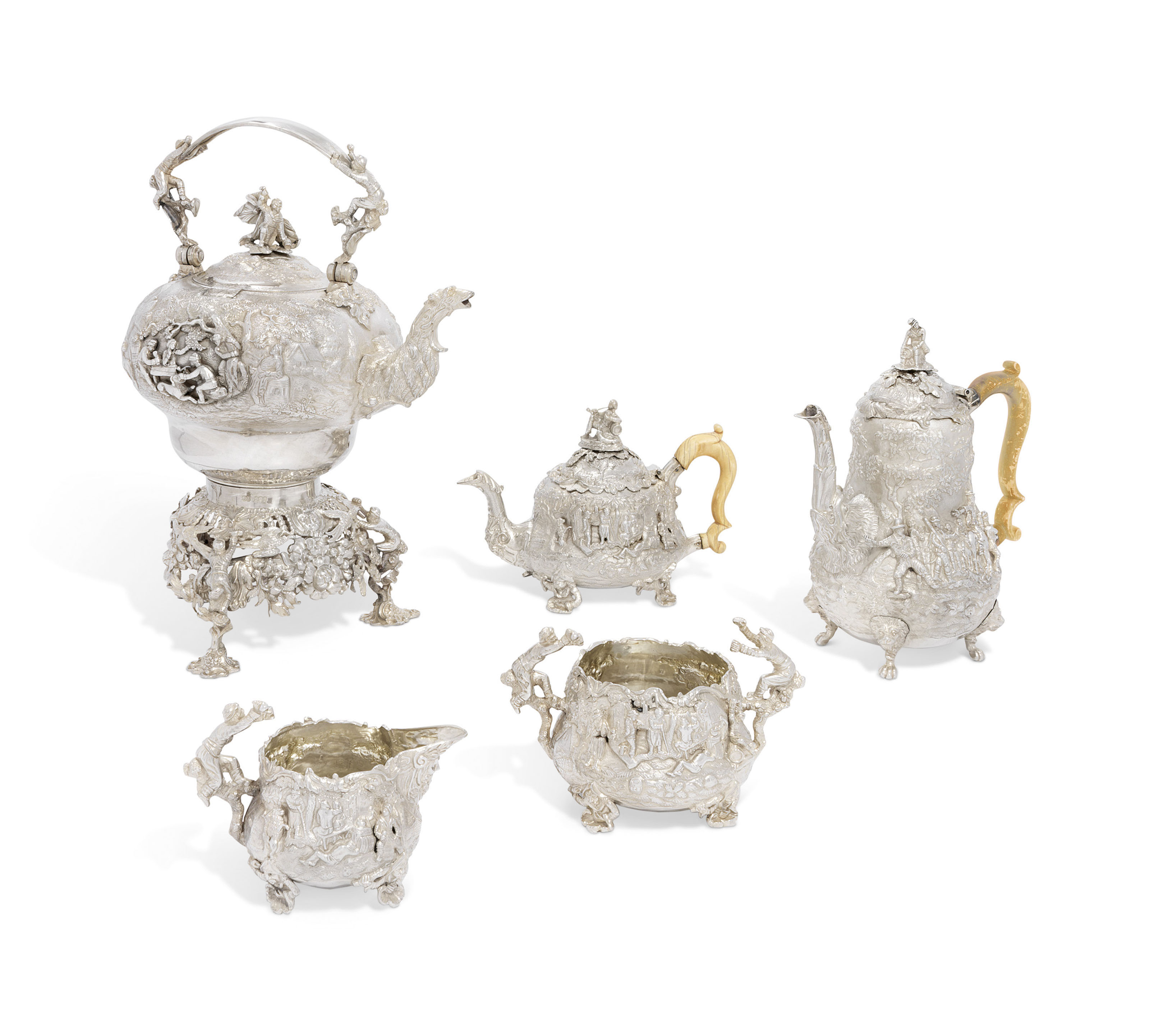 A GEORGE IV FIVE-PIECE SILVER TEA AND COFFEE-SERVICE