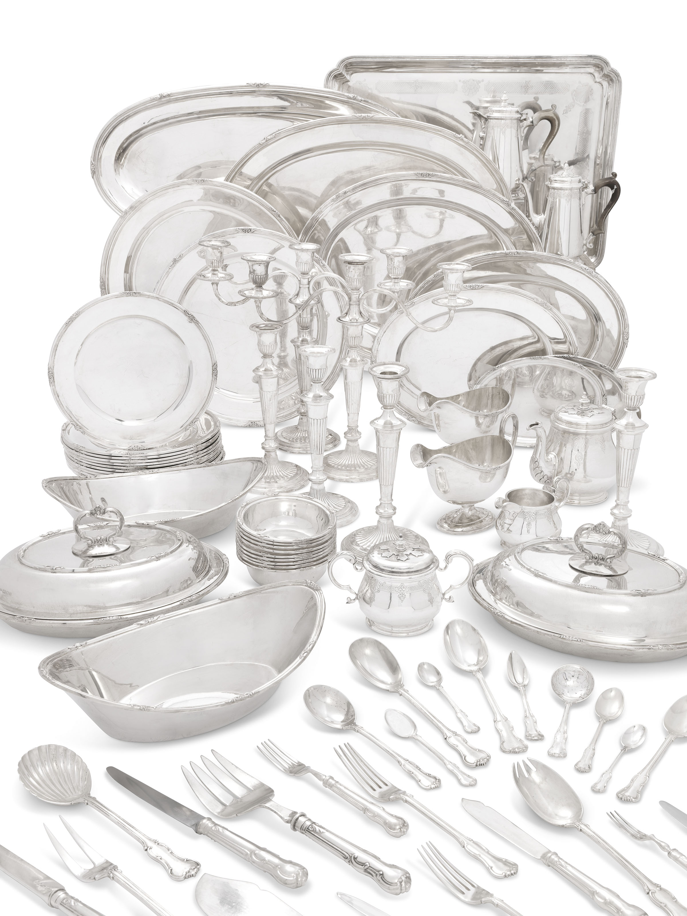 AN ELIZABETH II SILVER DINNER-SERVICE, TEA AND COFFEE-SERVICE AND TABLE-SERVICE