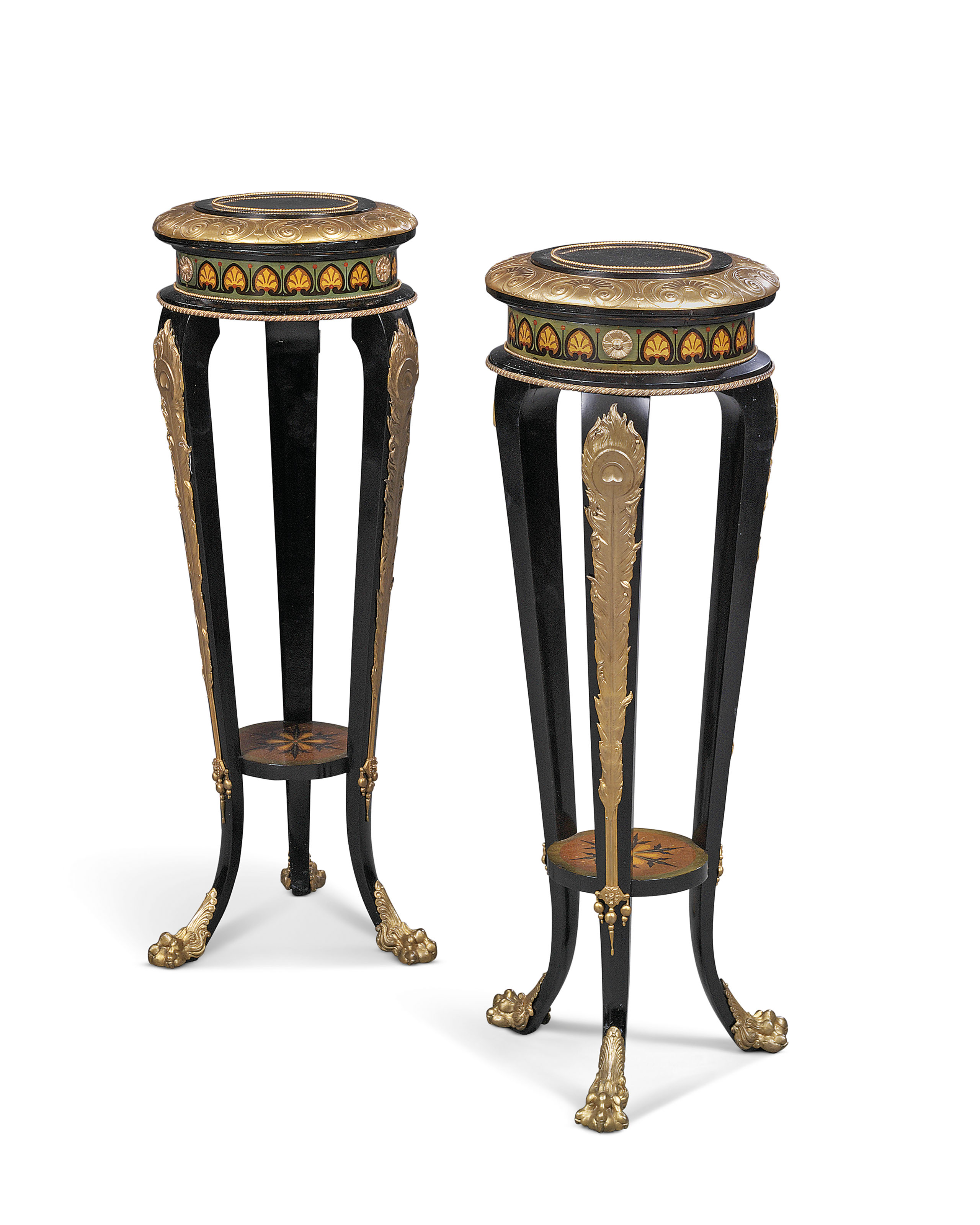 A PAIR OF FRENCH GILT-COPPER ELECTROTYPE MOUNTED, STAINED SYCAMORE, EBONY AND EBONIZED MARQUETRY PEDESTALS