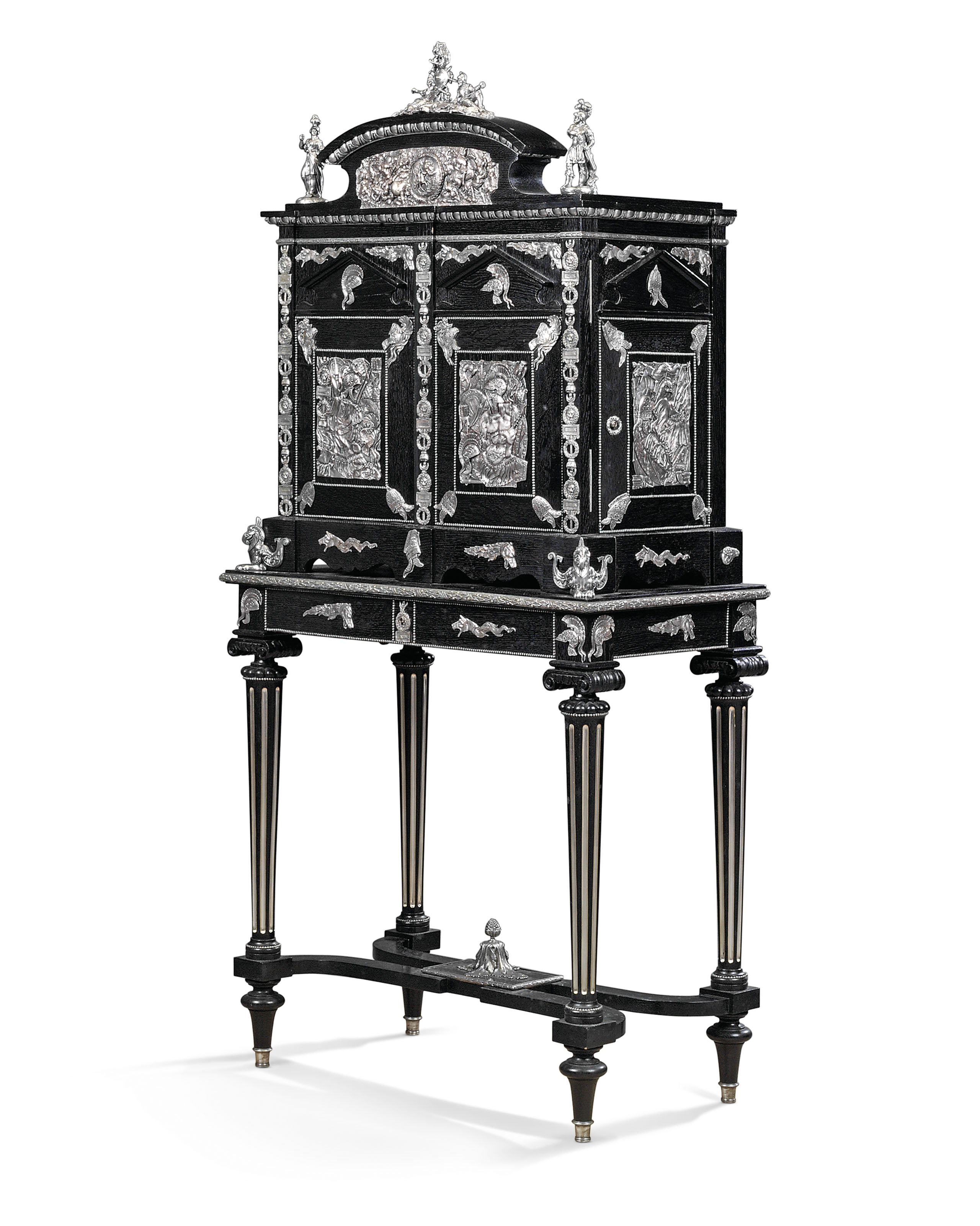 A NAPOLEON III SILVERED-COPPER-MOUNTED EBONISED-OAK CIGAR CABINET ON STAND