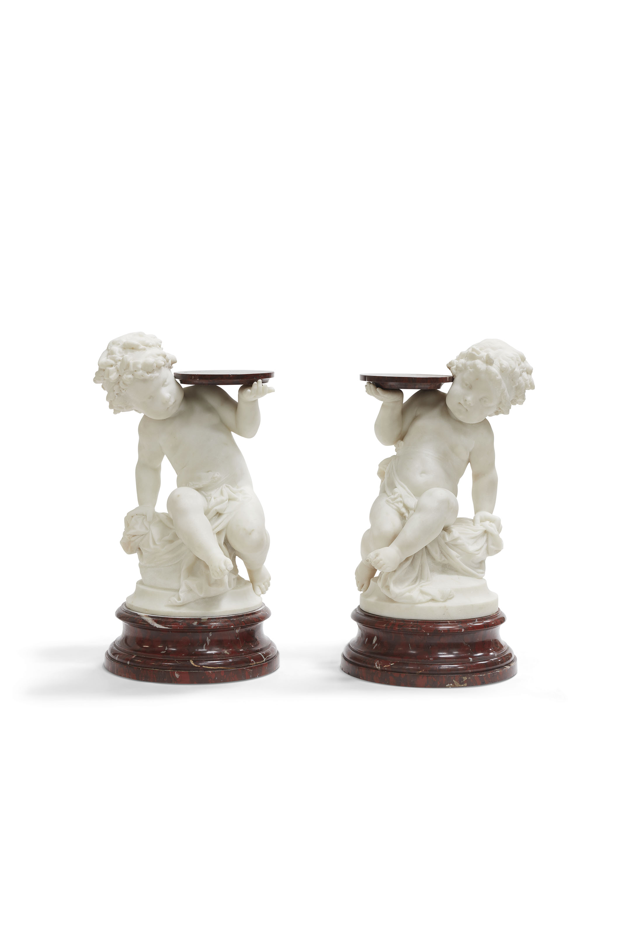 A PAIR OF FRENCH MARBLE MODELS OF PUTTI