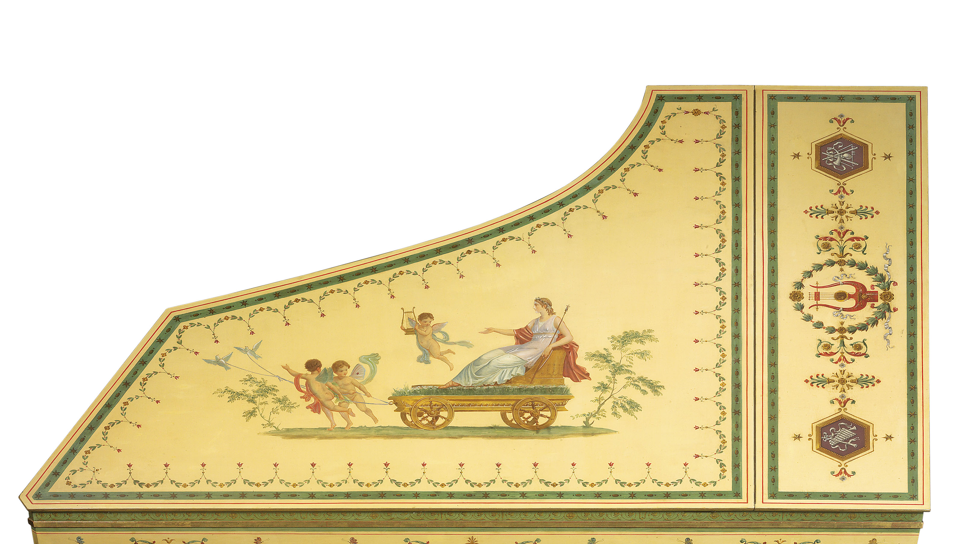 A FRENCH POLYCHROME PAINTED AND PARCEL-GILT GRAND PIANO | BY