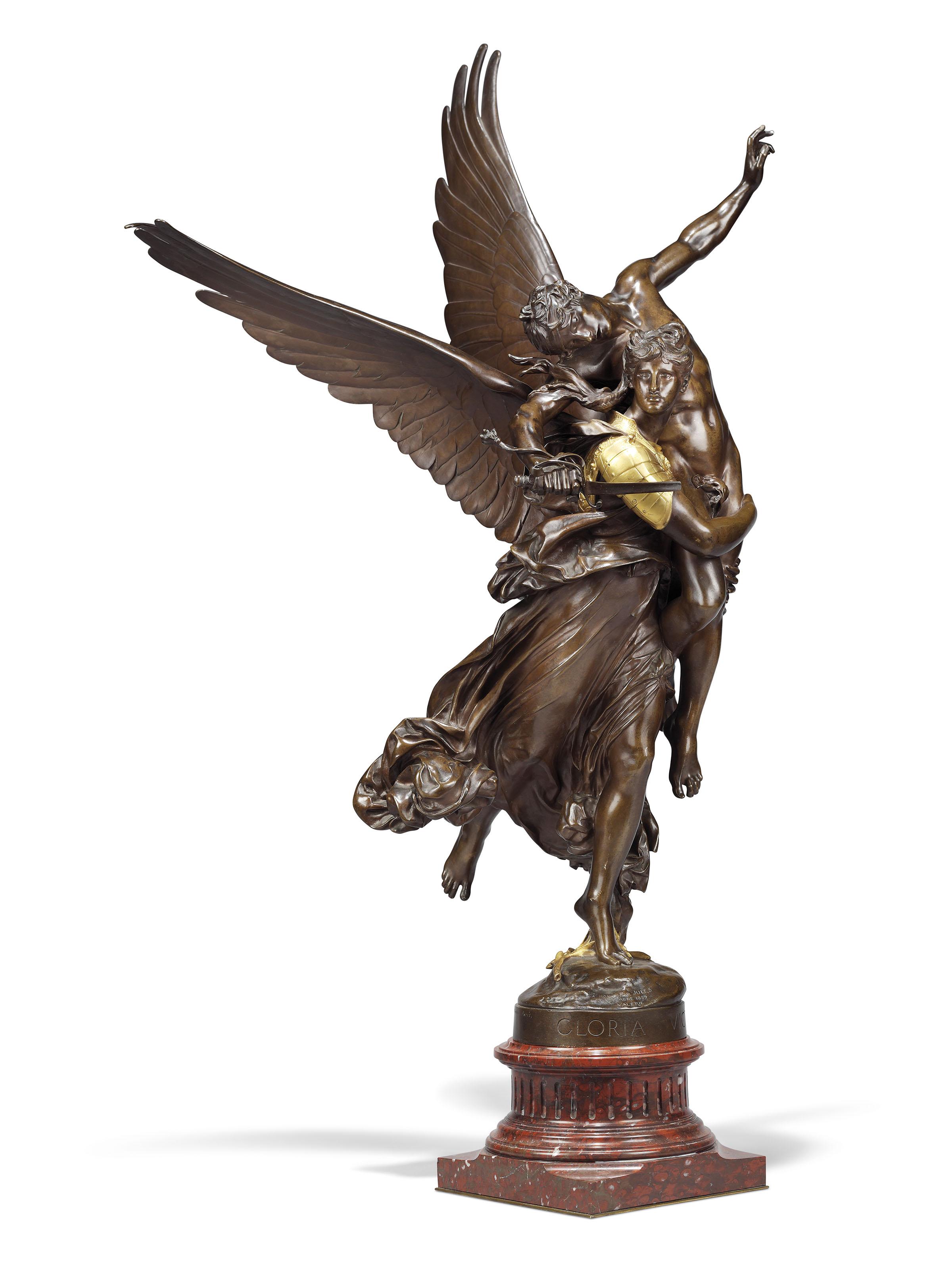 ANTONIN MERCIE: MONUMENTAL BRONZE OF GLORIA VICTIS 1875