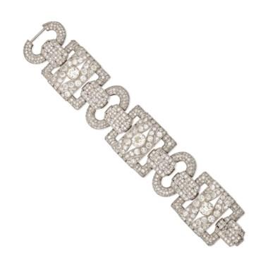 Art Déco Diamond Bracelet Old And Single Cut Diamonds Platinum French Marks