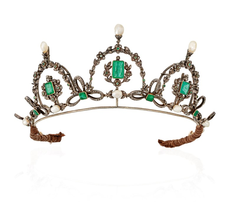 Late 19th Century Emerald and Diamond Tiara  Necklace. Square and rectangular-cut emeralds, rose-cut diamonds, silver and gold, with tiara frame, circa 1890, 35.0 cm. Sold for £6,250 on 13 June 2018 at Christie's in London