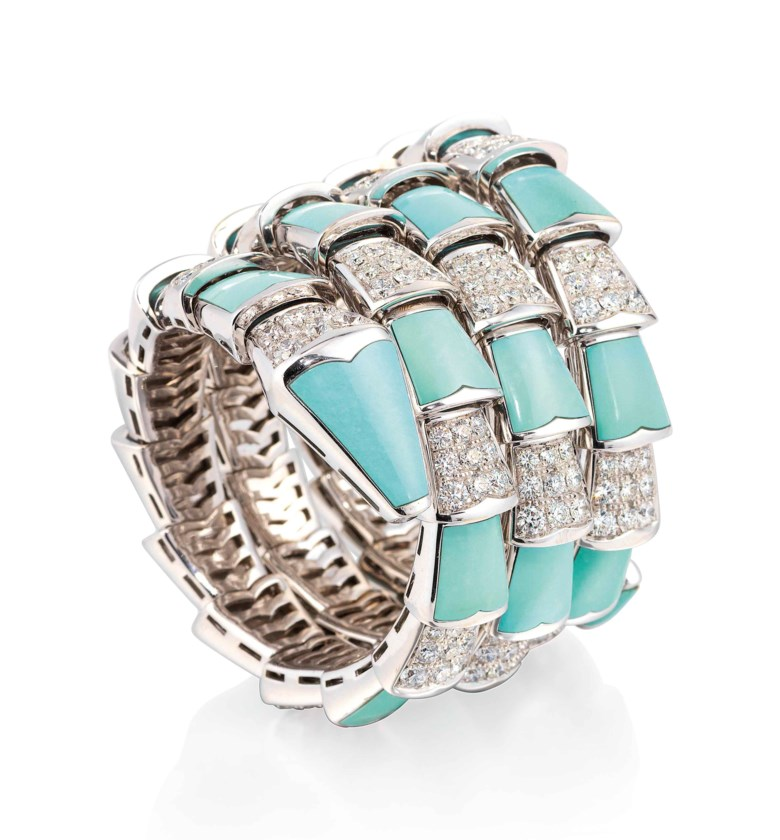 Turquoise and Diamond Serpenti Bangle, Bulgari. Offered in Important Jewels on 13 June 2018 at Christie's in London and sold for £60,000