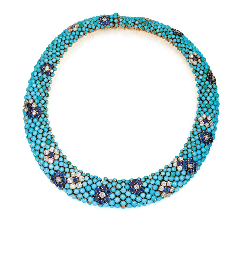 Turquoise, Sapphire and Diamond Collar Necklace, Van Cleef & Arpels, circa 1960. Circular cabochon turquoise, circular-cut sapphires and diamonds, signed Van Cleef & Arpels, numbered, original black Van Cleef & Arpels case. . Diameter 35.2 cm. Estimate £30,000-40,000. Offered in Important Jewels on 13 June 2018 at Christie's in London