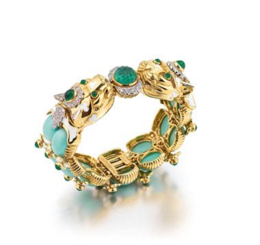 Turquoise, Emerald, Diamond and Enamel Leopard Bracelet, David Webb. Oval cabochon turquoise, circular and fluted cabochon emeralds, circular-cut diamonds, enamel, inner circumference 16.5 cm, signed David Webb, numbered. Estimate £20,000-30,000. Offered in Important Jewels on 13 June 2018 at Christie's in London
