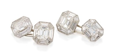 Fine diamond cufflinks, by Cartier. Sold for £52,500 on 13 June 2018 at Christie's in London