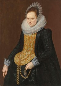 Portrait of a lady, three-quarter-length, in a black vlieger brocade gown, with an elongated embroidered stomacher and embroidered mill ruff, holding a chain