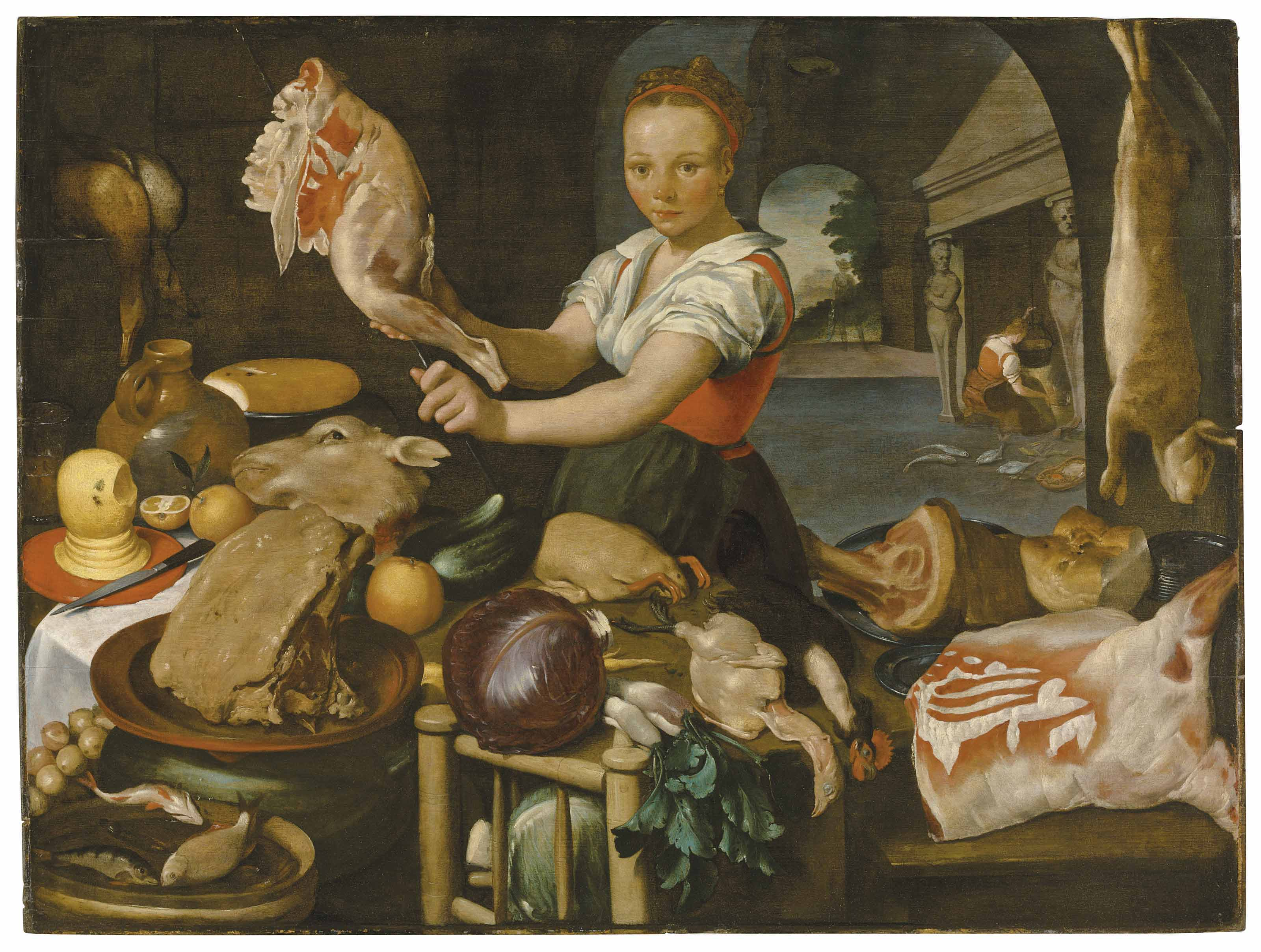 A kitchen scene with a maid preparing a joint at a table laden with meat, fruit and vegetables, a landscape beyond