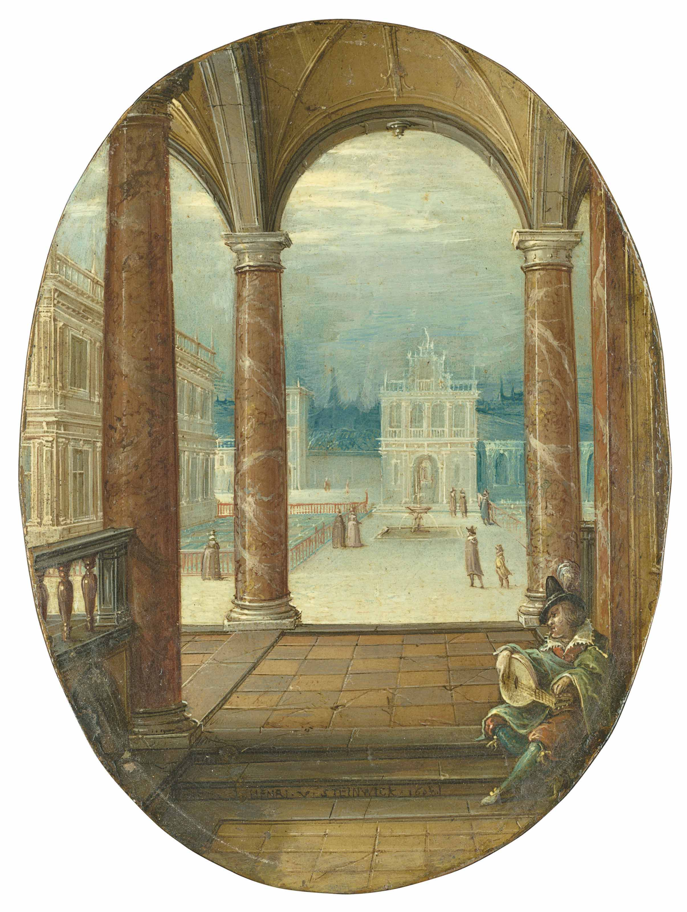 The courtyard of a renaissance palace, viewed from a portico, with a lute player in the foreground