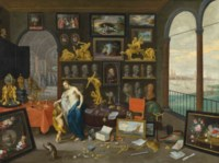 Allegory of sight, a view of Antwerp beyond