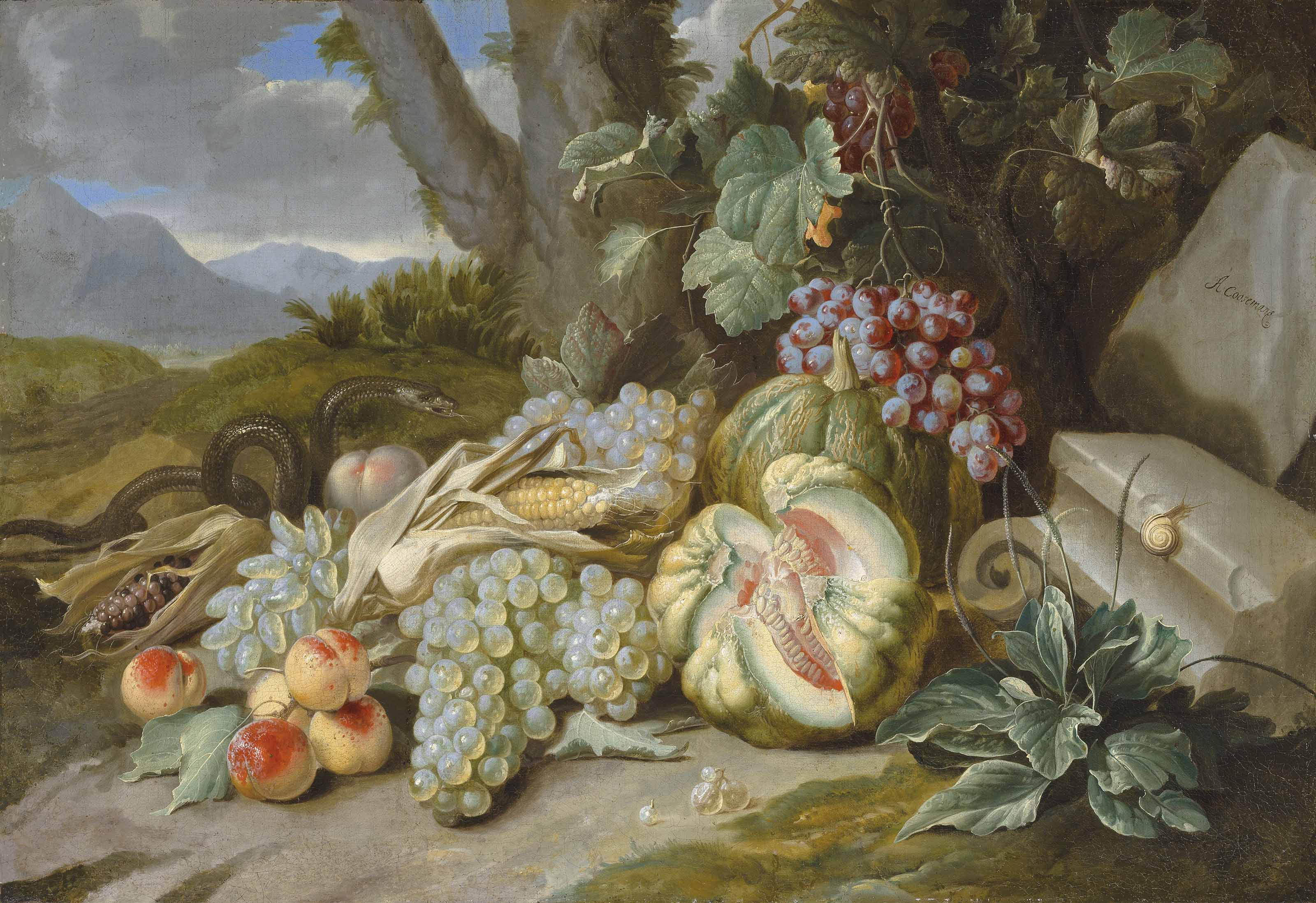 Melons, grapes, peaches and corn with a snake, in a landscape