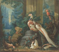 A silver pheasant and other exotic birds amongst classical ruins