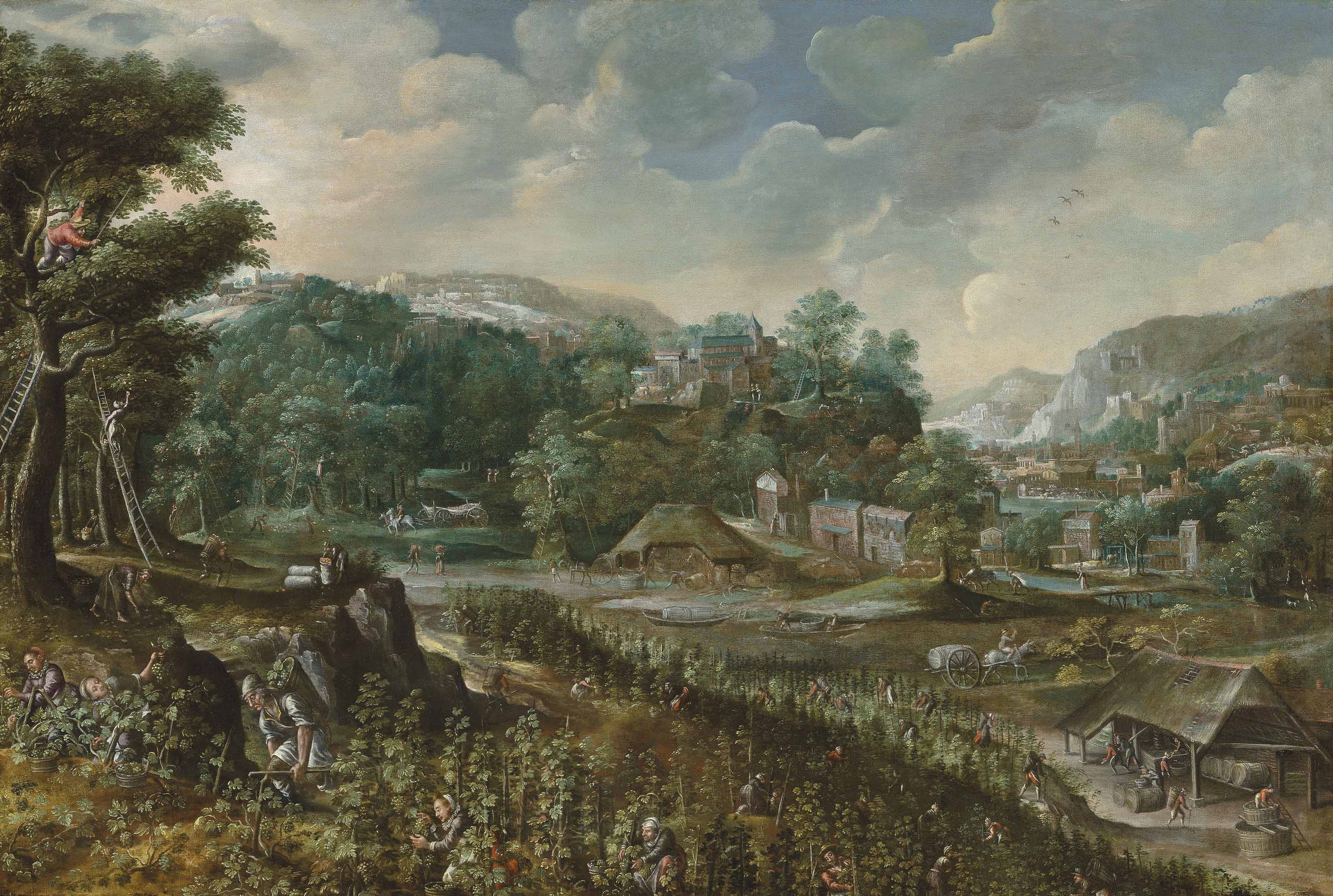 Allegory of Summer(?): an extensive landscape with peasants harvesting grapes and wine-making, a village beyond